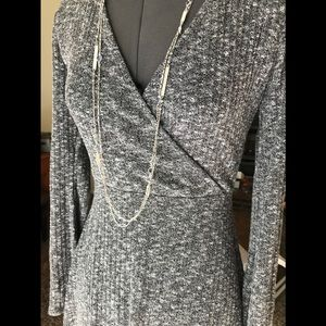 Heather Gray Wrapped Skater Dress NWOT